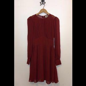 ASOS Dark Brick Red Long Sleeve Dress